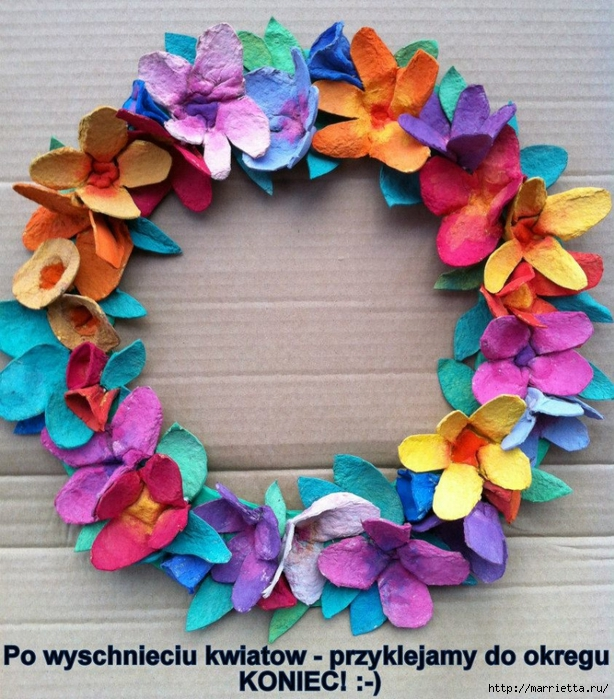 Как сделать цветы из яичных лотков. Много идей (13) (614x700, 373Kb)