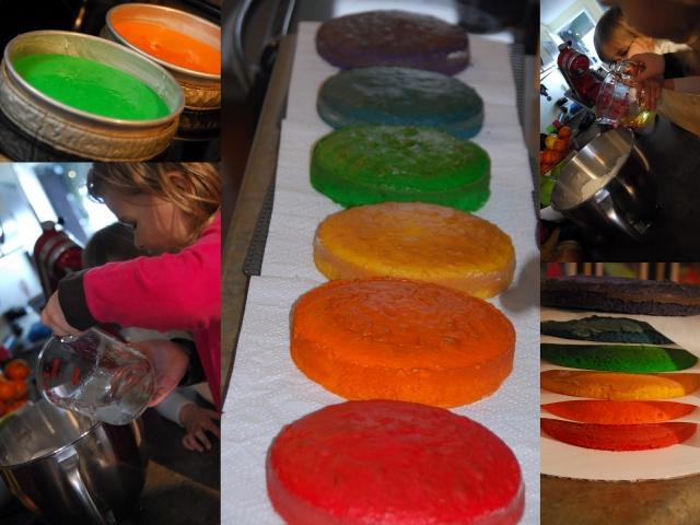 Торт с разноцветными коржами рецепт с пошагово