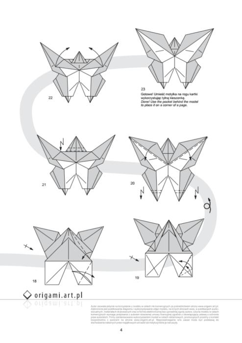 бабочка оригами закладка для книжки (3) (494x700, 150Kb)