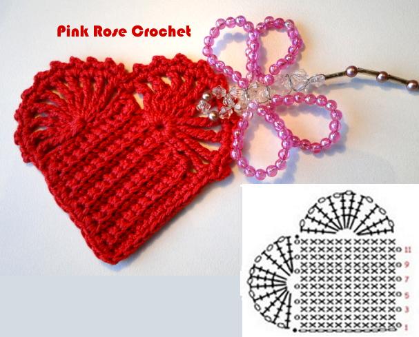 сердечное вязание крючком. сафетки крючком схемы (4) (607x489, 471Kb)