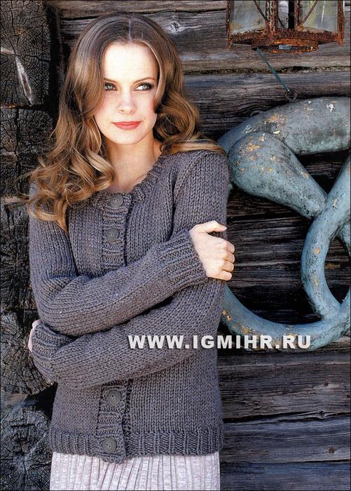 Просто, тепло, комфортно! Жакет серо-коричневого цвета на пуговицах, от финских дизайнеров. Спицы