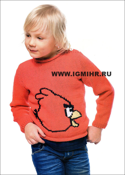 Красный пуловер Angry birds для мальчика 2-11 лет, от финских дизайнеров. Спицы