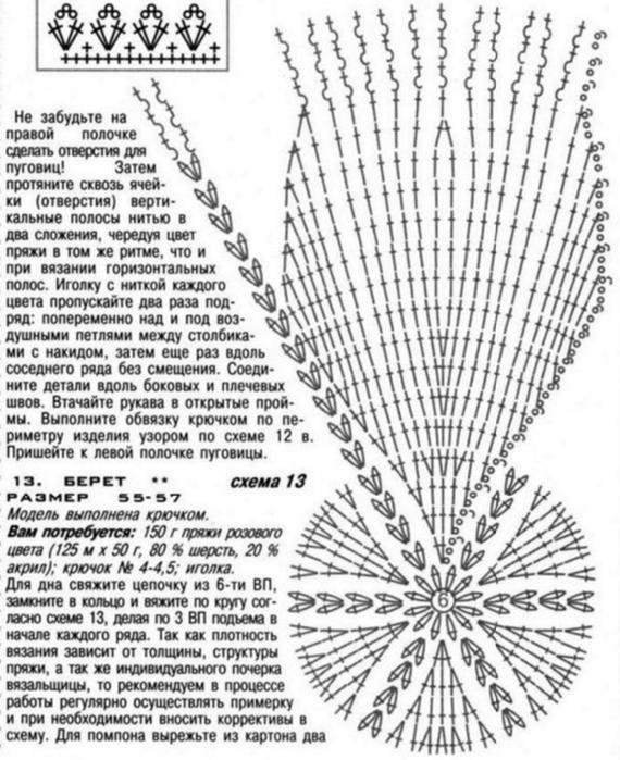 Вязание беретки схемы 4