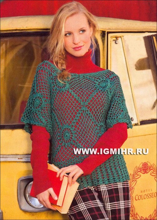 Актуально и летом, и зимой! Зеленый сетчатый пуловер. Крючок