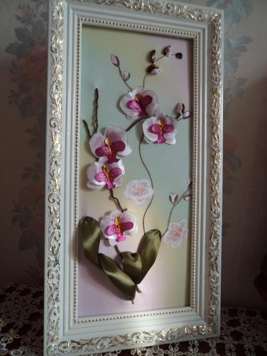 Вышивка лентами орхидея мастер класс
