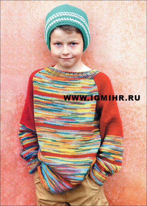 Пестрый пуловер-реглан и шапочка для мальчика (юноши), от финских дизайнеров. Спицы и Крючок
