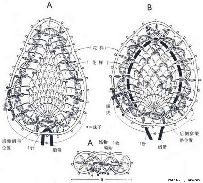 Схемы для вязания крючком сердечек и бабочек.