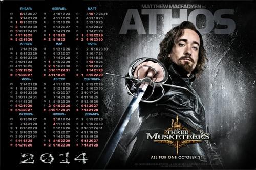 500 Календарь на 2014 год - Мушкетеры, Атос (500x333, 149Kb)