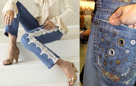 Чем украсить джинсы своими руками фото