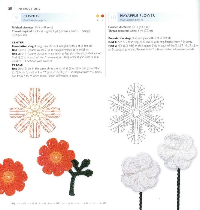 Вязание цветочков и листочков 772