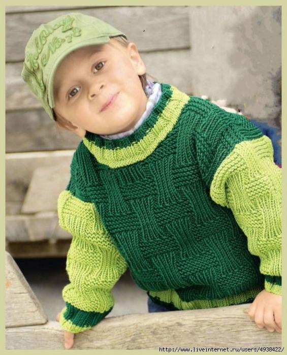 Зелёный пуловер с рельефным