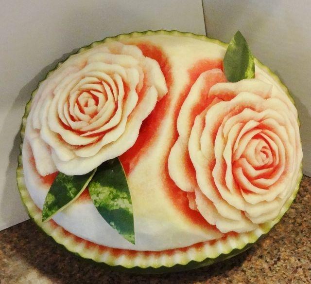 карвинг. розы из арбуза. салат из ананасов (1) (640x583, 235Kb)