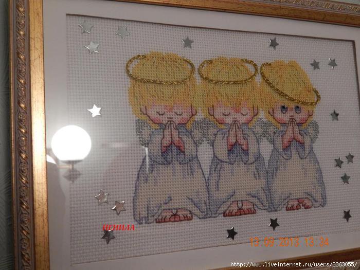 Оформление вышивки ангелочки