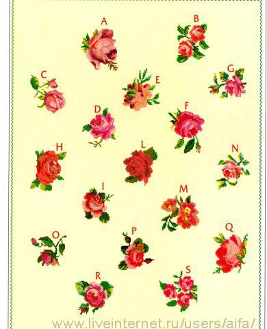 Мини розы 17 Вышивка крестом,