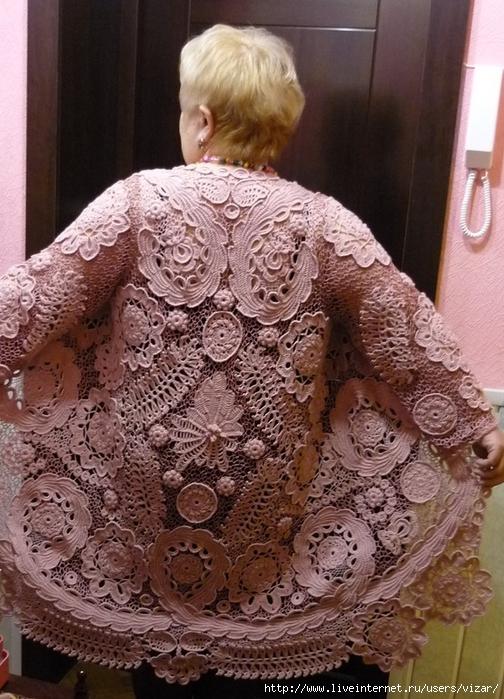 Вязание пальто ирландским кружевом 345