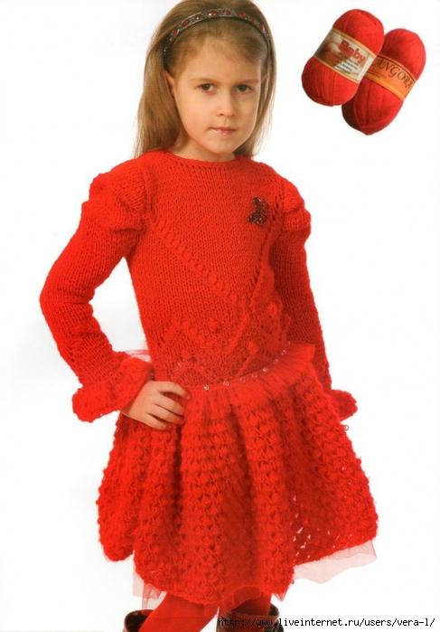 Вяжем тёплое платье для девочки