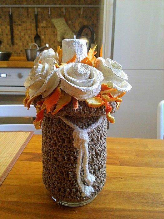 Розочки из апельсиновых корочек. Букет апельсиновых роз для украшения интерьера (6) (525x700, 219Kb)