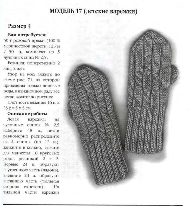 Схемы вязания рукавиц на спицах
