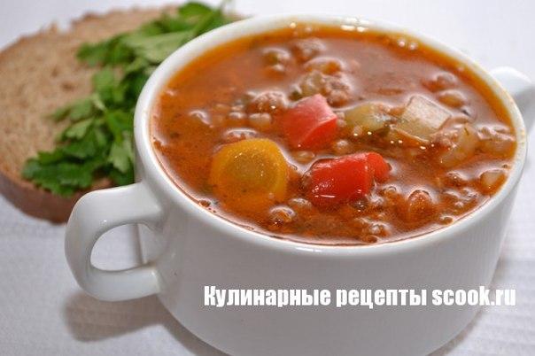 Томатный суп с фаршем и фасолью