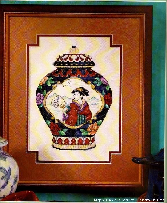 Китайская ваза. Вышивка