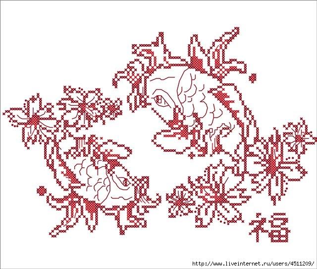 Схема для вышивки гладью орел 5