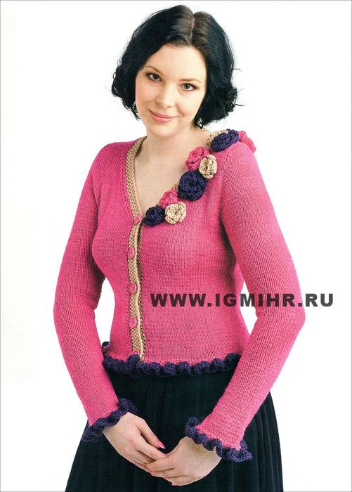 Особый шарм! Розовый жакет с цветочной отделкой, от финских дизайнеров. Спицы и Крючок