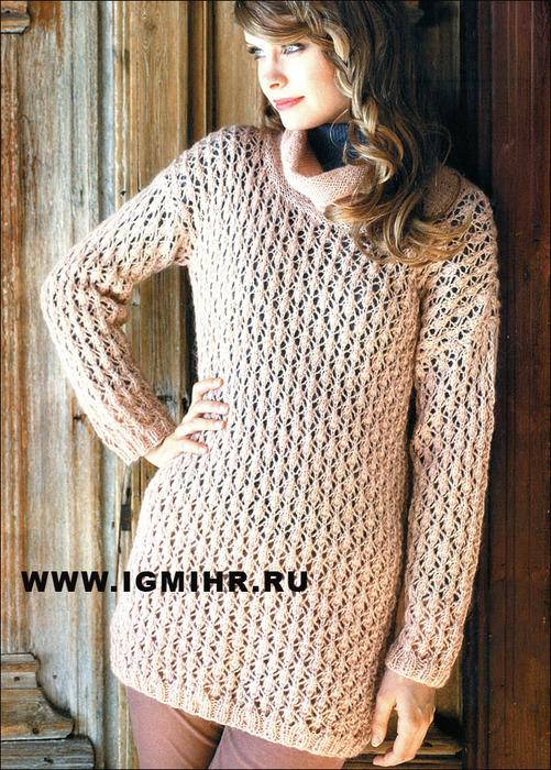 Удлиненный ажурный пуловер бежевого цвета, от финских дизайнеров. Спицы