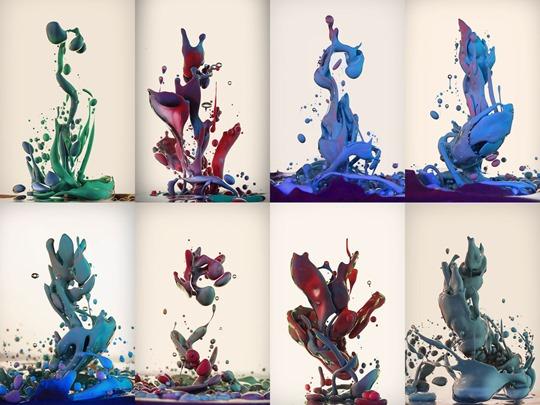 Альберто Севесо. Высокоскоростные фотографии брызг краски над водой