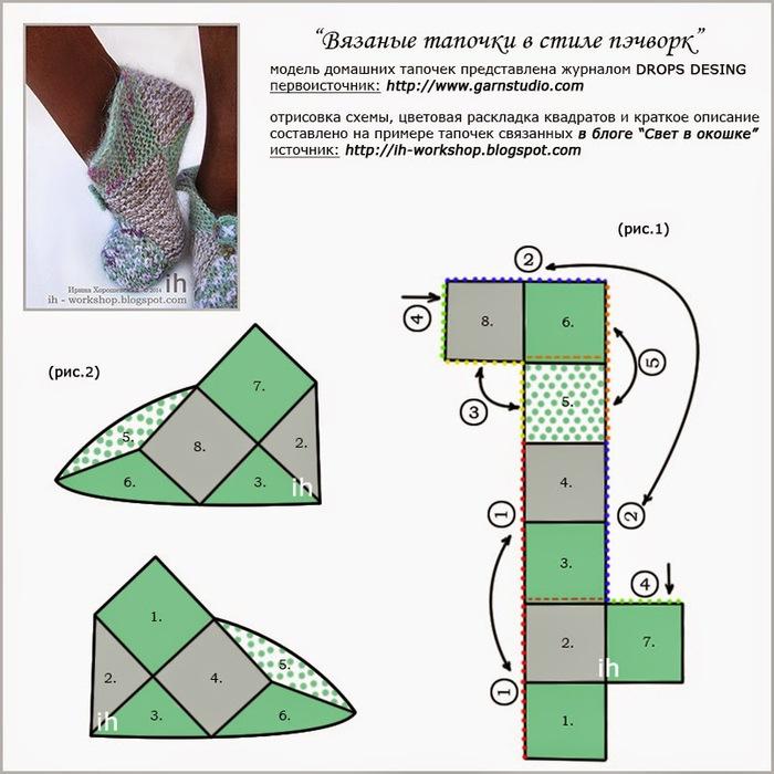 Вязание следков из квадратов крючком схема