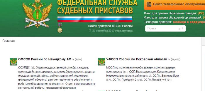 служба судебных приставов узнать задолженность выборг Московская область Калужская