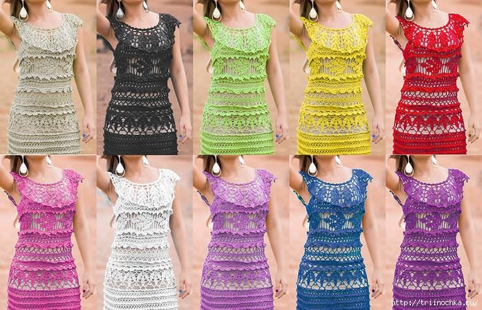 Вязаное платье на жаркое лето