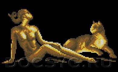 схема вышивки Девушка с пантерой (390x240, 72Kb)