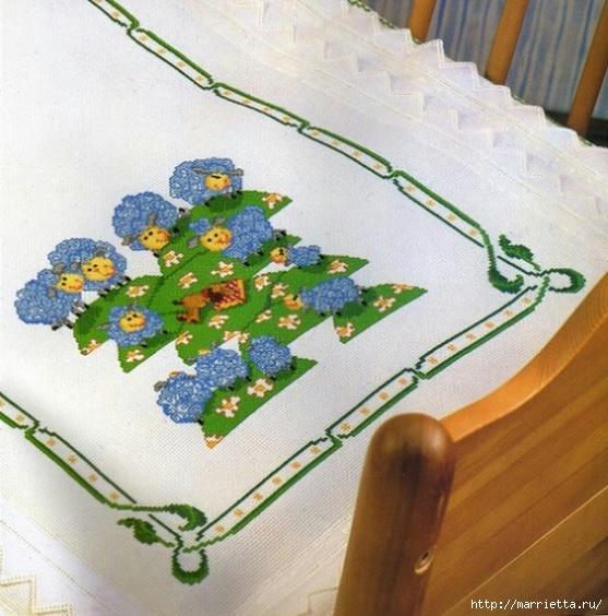Овечки - вышивка крестом для детской кроватки (1) (557x564, 205Kb)