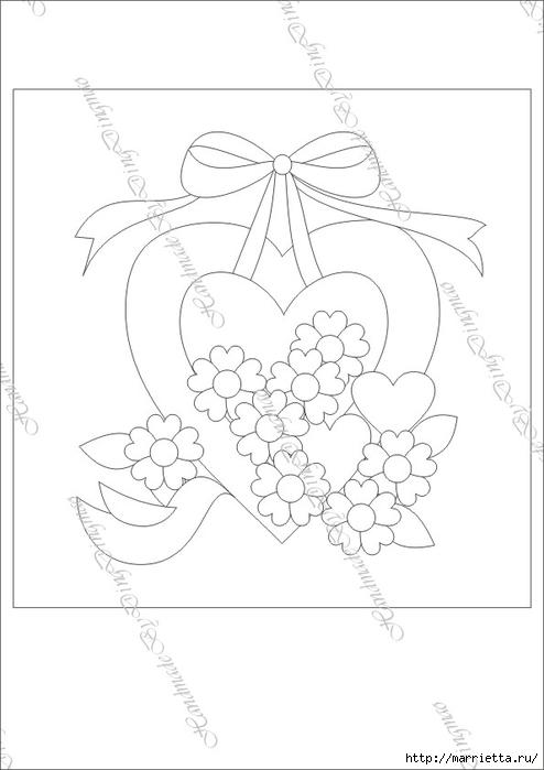 Любовное панно с сердечками в технике пэчворк (4) (494x700, 109Kb)