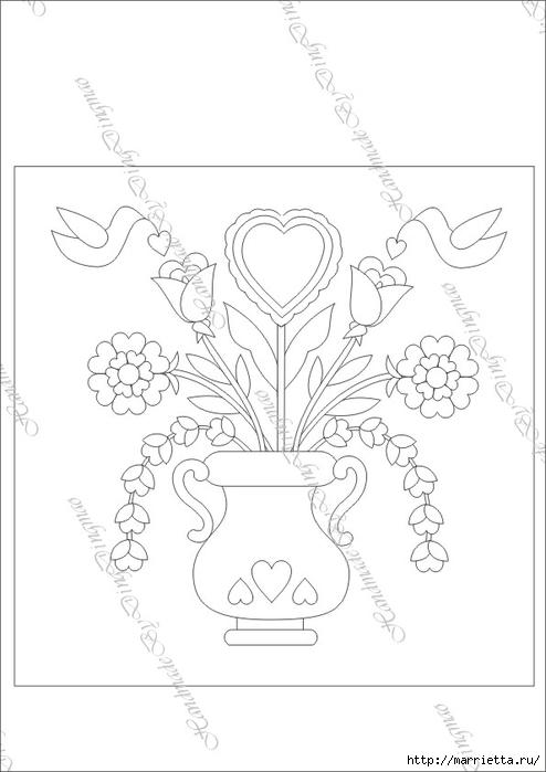 Любовное панно с сердечками в технике пэчворк (8) (494x700, 122Kb)