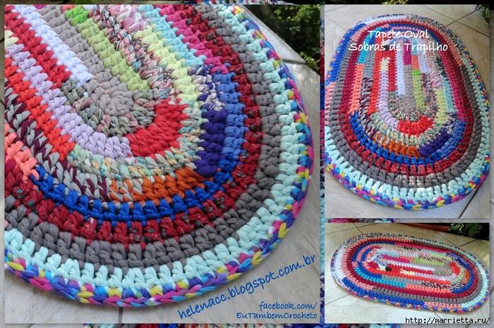 Вязание круглого коврика из старых вещей крючком 67