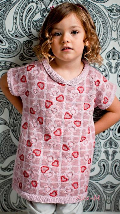 Вязаное платье для девочки подростка спицами