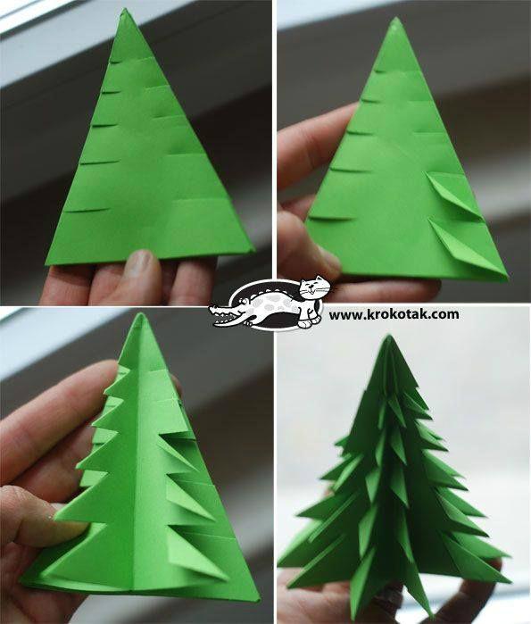 Как сделать из одной бумаги ёлку