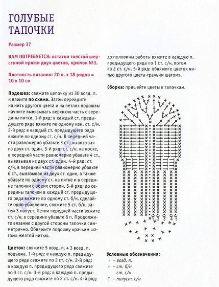 Схема вязания и описание подошвы для тапочек 833
