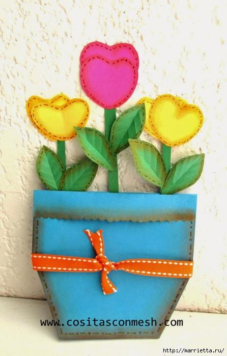 Бумажные цветы для детского подарка к 8 марта (11) (446x700, 224Kb)