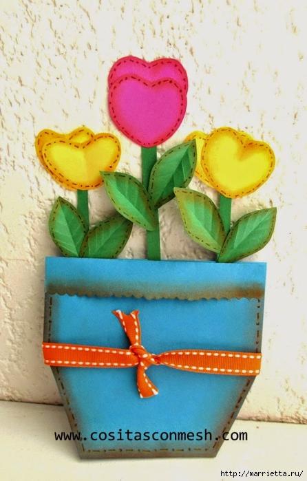 Бумажные цветы для детского подарка к 8 марта (17) (446x700, 230Kb)