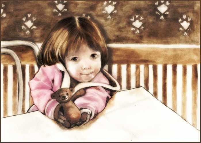 Девочка с мишкой за столом сжатый (700x498, 34Kb)