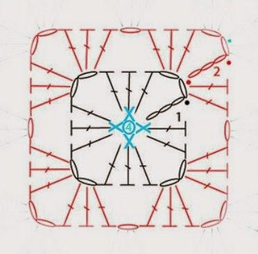 Бабушкин квадрат - мотивы для вязания пледов, подушек и покрывал (8) (372x366, 101Kb)