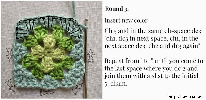 Бабушкин квадрат - мотивы для вязания пледов, подушек и покрывал (10) (700x342, 187Kb)