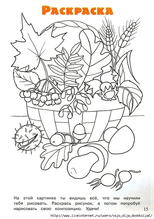 Раскраски осенние листья для детей - 8