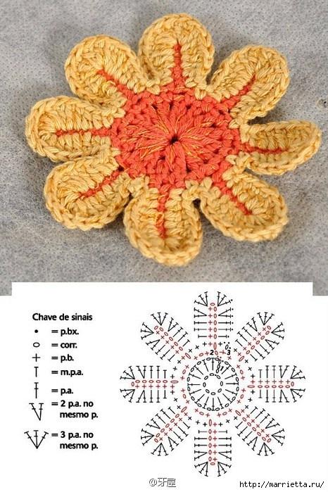 Схемы мотивов для вязания пледов, подушек и покрывал (18) (466x699, 253Kb)