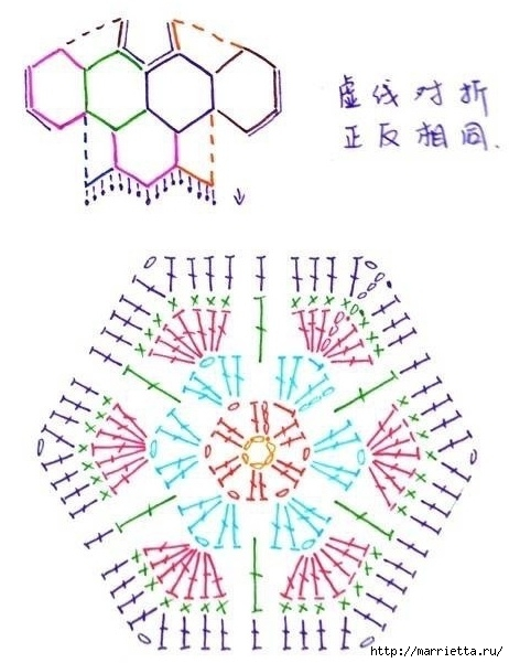 Схемы мотивов для вязания пледов, подушек и покрывал (24) (462x601, 154Kb)