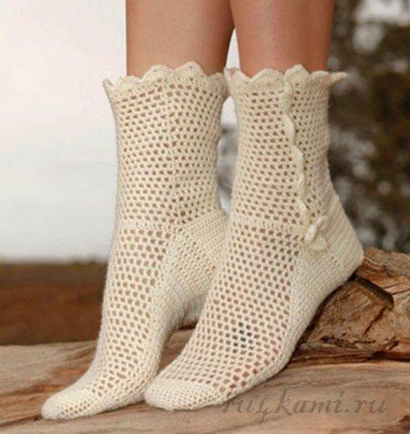 <вязаные носки крючком - Самое