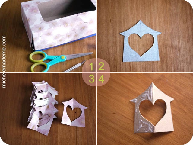 Paper Hanging Heart House Ornament steps 1-4 (640x480, 142Kb)