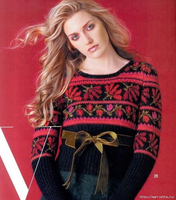 Пуловер спицами с цветочным орнаментом (2) (613x700, 352Kb)
